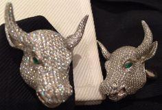 Wall Street Bull 18k Gold Diamond Cufflinks Rare Amazing Mens Jewelry Bling  59k