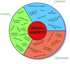 Social Anxiety wheel and the things you may feel when you get nervous around people. so excited to go back to school <--that was sarcasm folks.