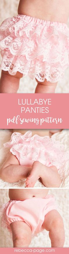 PDF sewing pattern - This PDF sewing pattern and instructions are for a lace ruffled diaper cover for your baby or toddler.