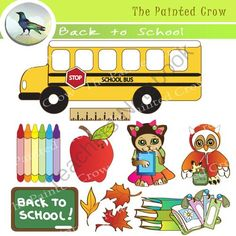 Back to School Clipart. Set of 11 Graphics - The First Day of School from The Painted Crow on TeachersNotebook.com -  (1 page)  - This cute, 11 piece Back to School clip art set features a kindergarten kitten with bows in her hair, and an little owl toting a lunch box.   The clip art pack includes JPEG and PNG versions of the same illustrations. These are high resolution (300 dpi) J