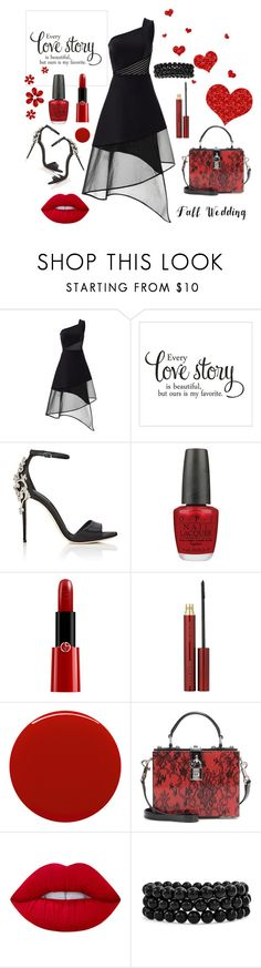 """""""Love story"""" by jelena-topic5 ❤ liked on Polyvore featuring David Koma, Dolce&Gabbana, OPI, Giorgio Armani, Kevyn Aucoin, Smith & Cult, Lime Crime, Bling Jewelry and fallwedding"""