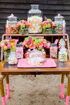Candy buffet color, wedding foods, flower