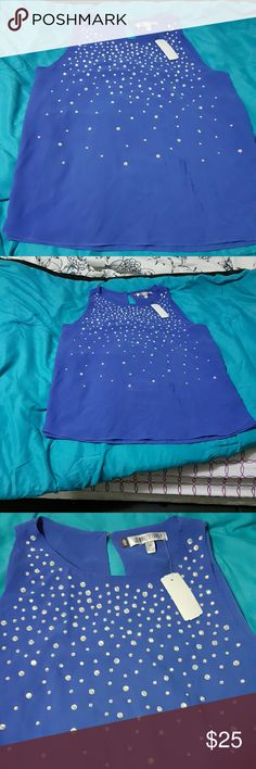 Jennifer Lopez blue top with rhinestones at front So cute and elegant top blue with matching pearl shiny rhinestones at front Jennifer Lopez Tops Blouses
