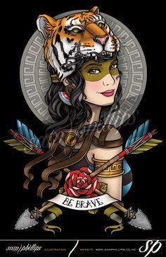 Tiger Hat Girl Tattoo - Sam Phillips - Artist . Illustrator . Graphic Designer