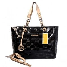 Michael Kors Logo Embossed Leather Large Black Totes