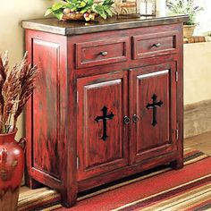 i like the antique red rustic look without the cross for his bedroom