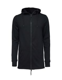 Slouchy hood - Men's long sweatshirt with oil dye effect. Features front zip fastening, thumbholes and cut open fold at bottom hem. Ribbed trim at cuffs. Jersey-lined hood. Below-hip length. Tiger Of Sweden, Mens Sweatshirts, Hooded Jacket, Cuffs, Jackets, Oil, Fashion, Men's Sweaters, Jacket With Hoodie