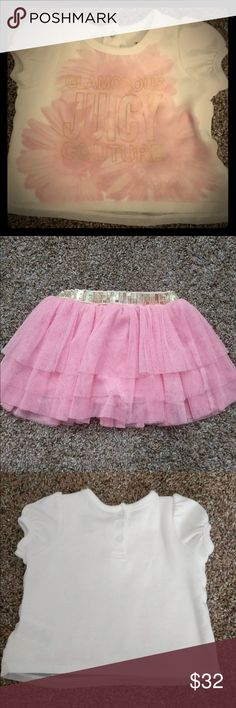 """🌸Juicy Set🌸 """"Glamours"""" This is a adorable two piece set. Skirt has layered ruffles w/mesh with a gold glitter elastic type waist.  6/9 months. Never wore, tag was ripped off but my baby girl outgrew it before she could wear it! Juicy Couture Shirts & Tops Blouses"""