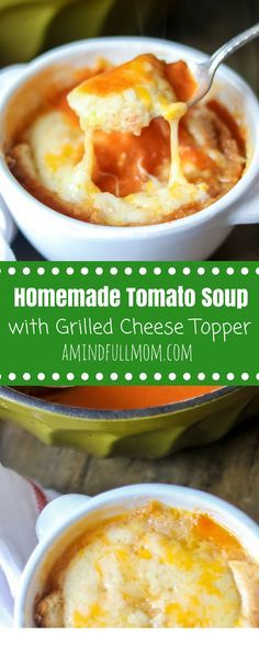 Easy Homemade Tomato Soup with Grilled Cheese Topper: This tomato soup is easily made but full of flavor, finished off with a giant cheese crouton, because everything is better with cheese. | Tomato Soup with Canned Tomatoes | Grilled Cheese and Tomato Soup | From Scratch Tomatoe Soup | Grilled Cheese Croutons | Instant Pot Tomato Soup Recipe | Slow Cooker Instant Pot Recipe