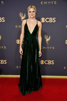 Shailene Woodley Evening Dress - Shailene Woodley looked downright divine in a plunging green velvet gown by Ralph Lauren at the 2017 Emmys.