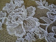 White Alencon Flower Applique with Cord Embroidery by FabricBistro