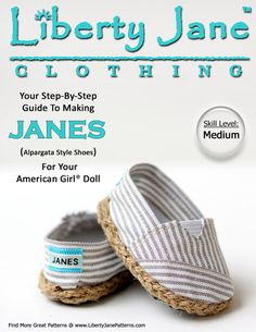Liberty Jane JANES Doll Shoe Pattern for 18 inch American Girl Dolls - PDF