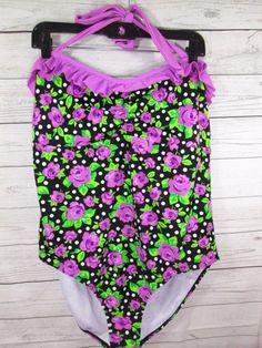 4aae463c393ee OP Swimsuit 1 Piece Women's Plus Size 2X 19-21 Rose Floral Purple Fuschia  Ruffle