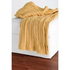 Cable Knit Decorative Throw (€53) ❤ liked on Polyvore featuring home, bed & bath, bedding, blankets, cable throw, cable blanket, cable knit blanket, cable knit throw blanket and cotton knit blanket