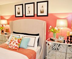 Inspired White Coral Decoration  mode Miami Contemporary Bedroom Image Ideas with  beige bed beige bedding beige headboard beige lamp shade beige wall black and white