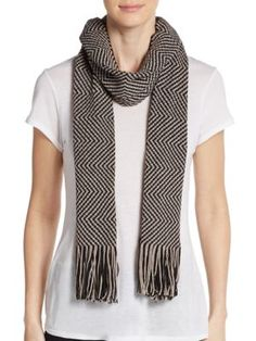MISSONI Wool-Blend Two-Tone Zig-Zag Scarf. #missoni #scarf