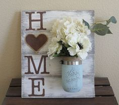 Mason Jar Wood Wall Hanging, Home Sign, Home Decor, Distressed, Hand Painted, Wall Decor, Vase Decor, Rustic, Shabby Chic, Country Chic