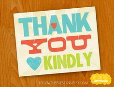 DIGITAL PRINTABLE  Faux Letterpress Thank You by YellowPuffDesigns, $5.00