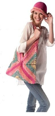 facile et rapide - crochet bag - just three granny squares and handles - great colours