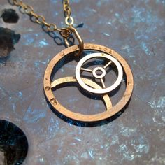 Watch Parts Necklace Galilei Recycled by amechanicalmind on Etsy