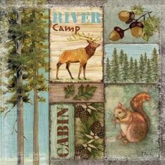Paul Brent Stretched Canvas Art - Elk Lodge - Small 12 x 12 inch Wall Art Decor Size. Elk Lodge, Garden Cabins, River Camp, Garden Decor Items, Poster Prints, Art Prints, Lodge Decor, Garden Flags, Vivid Colors