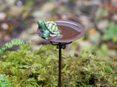 Fairy Garden Birdbath miniature bird bath with turtle and artificial water for terrarium