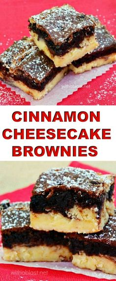 Decadent ! Gooey Brownie layer with a creamy Cinnamon Cheesecake layer #Brownies #Cheesecake #BestDesserts #FallDessert