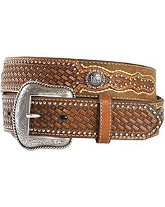 Mens Nocona Western Belt. Come home to the new old west! This Nocona belt from M&F Western features a rich full grain leather construction; exquisite embossed tooled basket weave leather with silver c