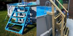 Construction Guide: DIY Walk-in Steps for Above Ground Pool - Right Where We Are Above Ground Pool Stairs, Diy In Ground Pool, Rectangle Above Ground Pool, Intex Above Ground Pools, Above Ground Pool Landscaping, Backyard Pool Landscaping, Above Ground Swimming Pools, In Ground Pools, Backyard Ideas
