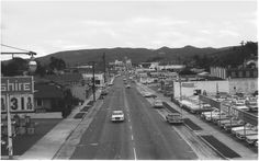 Monterey St, 1963 - San Luis Obispo CA.   Notice the Fremont Theater in the background.   Wow it's changed!
