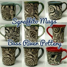 Sgraffito mugs Sgraffito, Cape Cod, Bass, Clay, Pottery, River, Tableware, Fun, Cod
