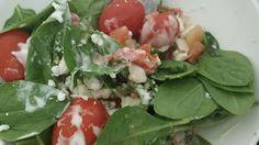 Yum ... Spinach, tomatoes,  salsa, feta cheese, ranch.