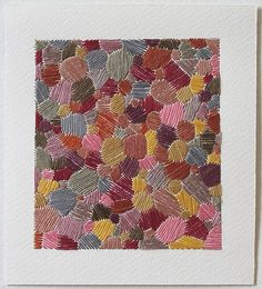 Emily Barletta - Untitled 55 (Thread, colored pencil and paper) Contemporary Embroidery, Modern Embroidery, Diy Embroidery, Cross Stitch Embroidery, Inspirational Artwork, Art Textile, Textile Artists, Stitching On Paper, Thread Art