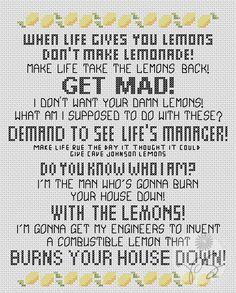 Portal 2 quote - With the Lemons (Printable PDF Pattern). $3.50, via Etsy.