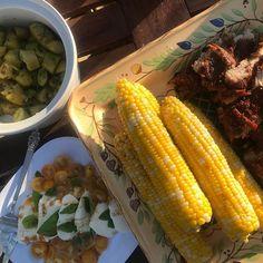 Corn ribs potato salad with a mustard vinaigrette caprese salad with @thesaladgirl Chile Limon #weeklydish #stephaniesdish #burntsidelake #summer #bbq #bbqribs #potatosalad