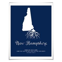 New Hampshire Art Print. 5 Sizes/60 Colours. State Map Poster. New Hampshire Map. Custom State Art