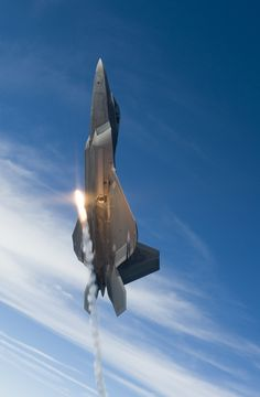 Going Vertical, A U.S. Air Force F-22A Raptor Fires A Flare While Over the Gulf of Mexico, August 27, 2008 New Orleans Naval Air Station, State of Louisiana, USA