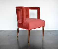 Elliot Upholstered and Tufted Mid-Century Chair with Oak Frame and Velvet Upholstery Available in Variety of Velvets, Linens and COM Please Call For Pricing