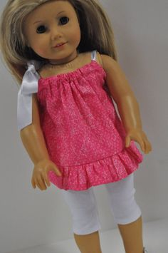 American Girl Doll Clothes Bright Pink Print by CircleCSewing