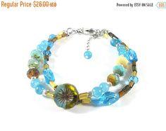 20% OFF CZECH GLASS Bracelet, 2 Strand, Beaded Bracelet, Picasso Czech Glass…