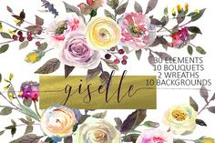 Watercolor Pink Yellow Flowers by whiteheartdesign on @creativemarket