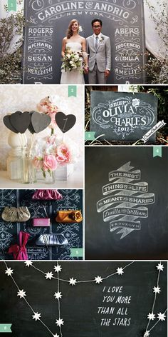 "Chalkboard Wedding Inspiration. I like the ""The best things in life are meant to be shared"" banner."