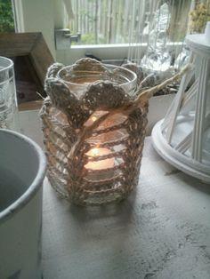 Lief lichtje, gehaakt met katoen, naald 3, om appelmoes potje