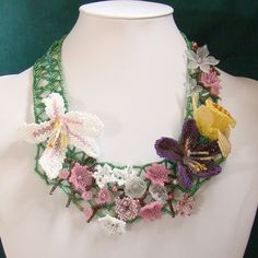 Bead Woven Necklace  Spring Flowers Beadwoven by AngelqueCreations, $165.00