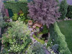 This DIYer took this photo of her garden from her roof. Even on a small city lot, she was able to create a lush landscape.