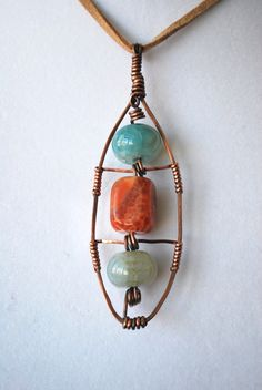 NEW PHOTO Fire Agate Stone Handforged Wire Wrapped Pendant by MySongsDesigns, $45.00