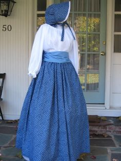 Ladies Prairie Pioneer Civil War Colonial Tea Day Dress bonnet skirt blouse SASS Blue 4 pc costume. $69.99, via Etsy.