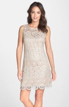 Eliza J Crochet Sleeveless Shift Dress (Regular & Petite) available at #Nordstrom