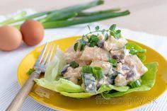 Vajíčkový šalát s cuketou a a fazuľou Tofu, Potato Salad, Low Carb, Cottage Cheese, Chicken, Meat, Ethnic Recipes, Smoothie, Smoothies