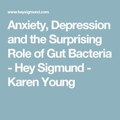 Anxiety, Depression and the Surprising Role of Gut Bacteria - Hey Sigmund - Karen Young